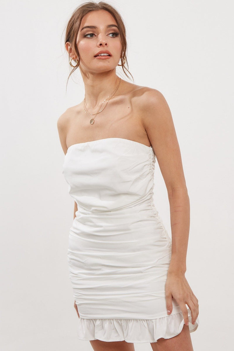 Natasha Strapless Ruched Mini Dress