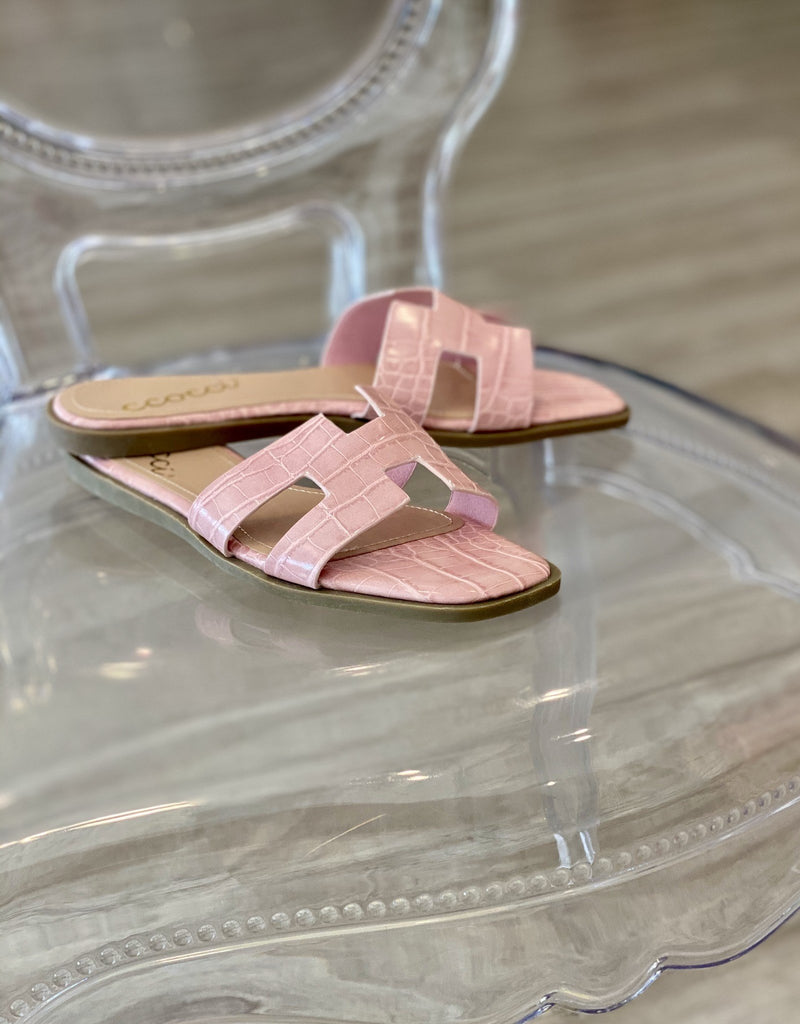 Reagan Croc Slide Sandal - Blush