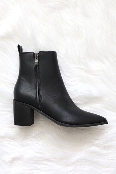 Jossie Pointy Toe Ankle Bootie - Black