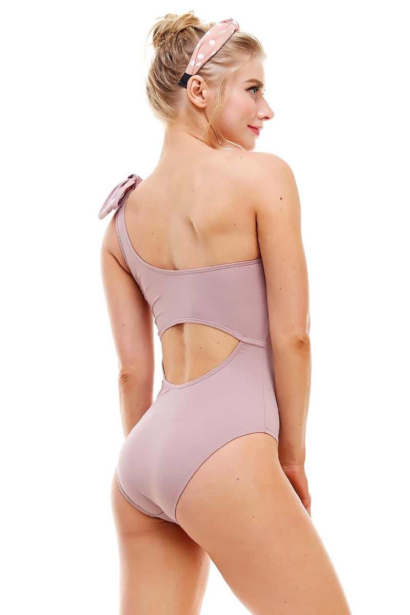 Malika One Shoulder Bow Swimsuit - Woodrose