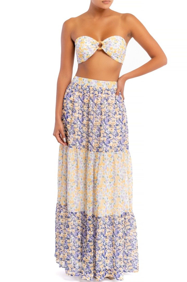 Aviva Floral Crop Top and Tier Skirt Set