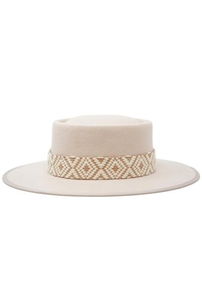 Pia Wool Felt Tribal Band Gambler Hat - Blush