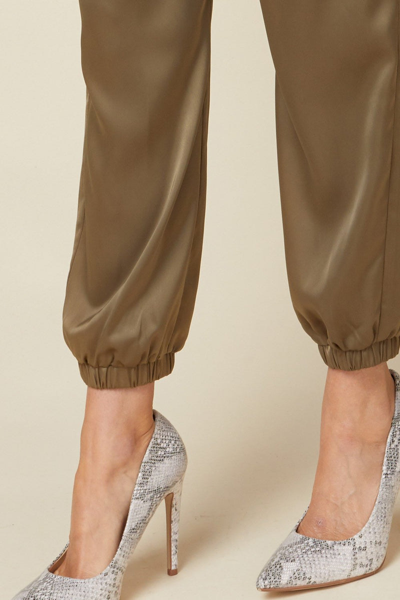 Gianina Satin Joggers with Elasticized Waist - Olive