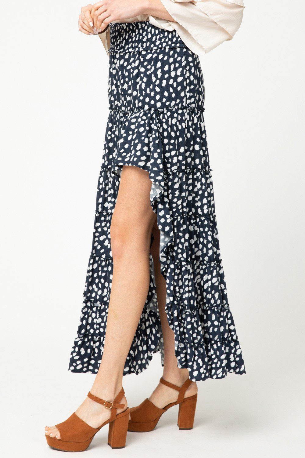 Ramona High Low Ruffle Skirt - Navy