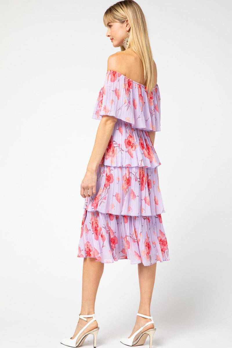 Natalie Pleated Off Shoulder Tiered Dress