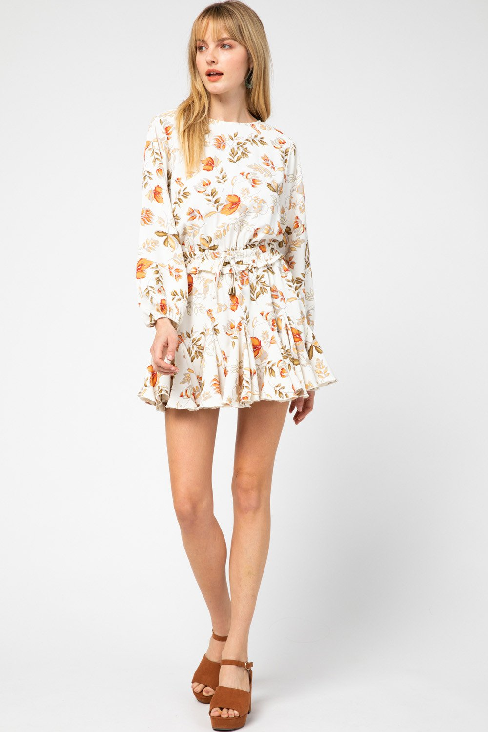 Emma Floral Drawstring Romper / Dress (looks like a dress)