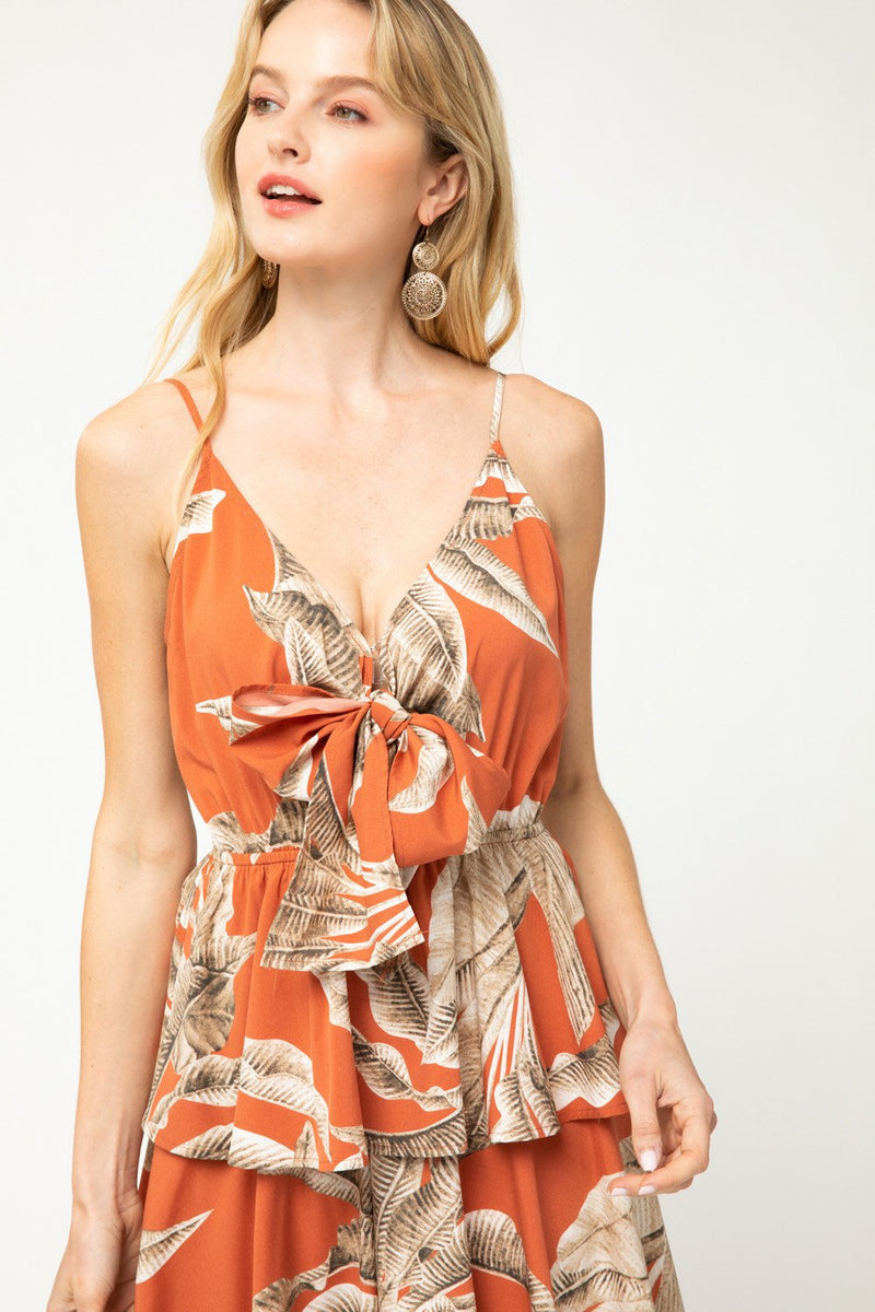 Lala Tropical Leaf Print Ruffle Dress