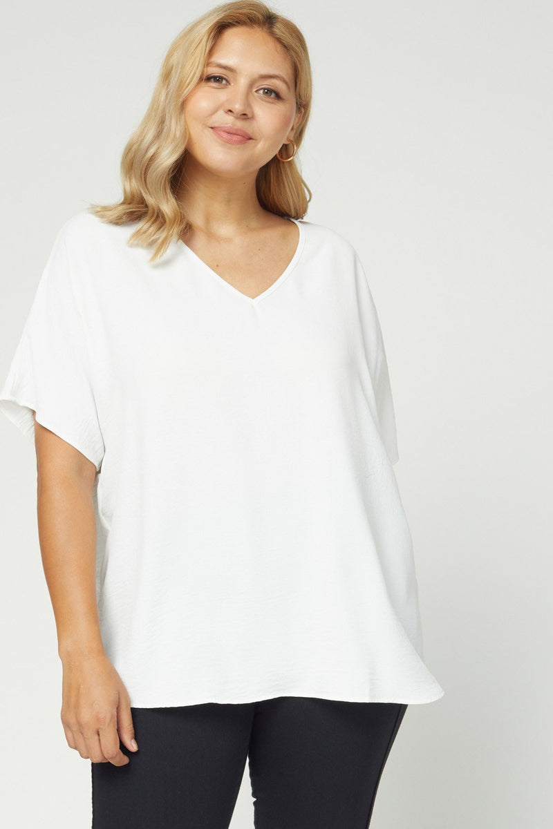 Plus Collection - Aspen V-Neck Top - Off White (Several Colors)