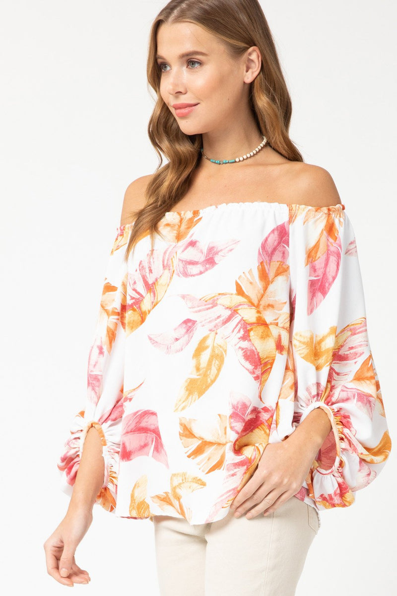 Maya Floral Off The Shoulder Top - Pink