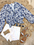 Lannah Long Sleeve Floral Smocked Waist Top -Blue/White