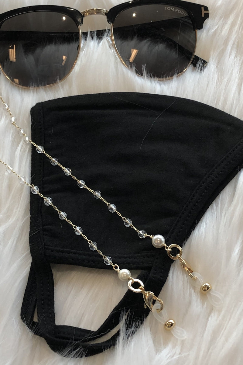 Mimi Mask / Sunglass Chain - Round Crystal Link