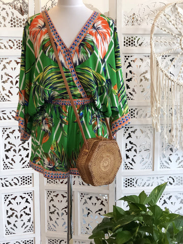Elena Tropical Kimono Top & Matching Short Set