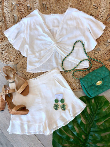 Callie Linen Twisted Top & Matching Ruffle Shorts Set - Off White
