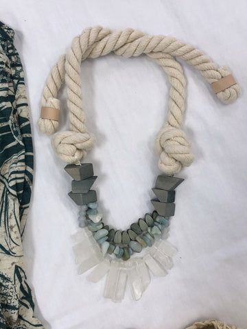 Gia Rope And Semi Precious Stones Necklace