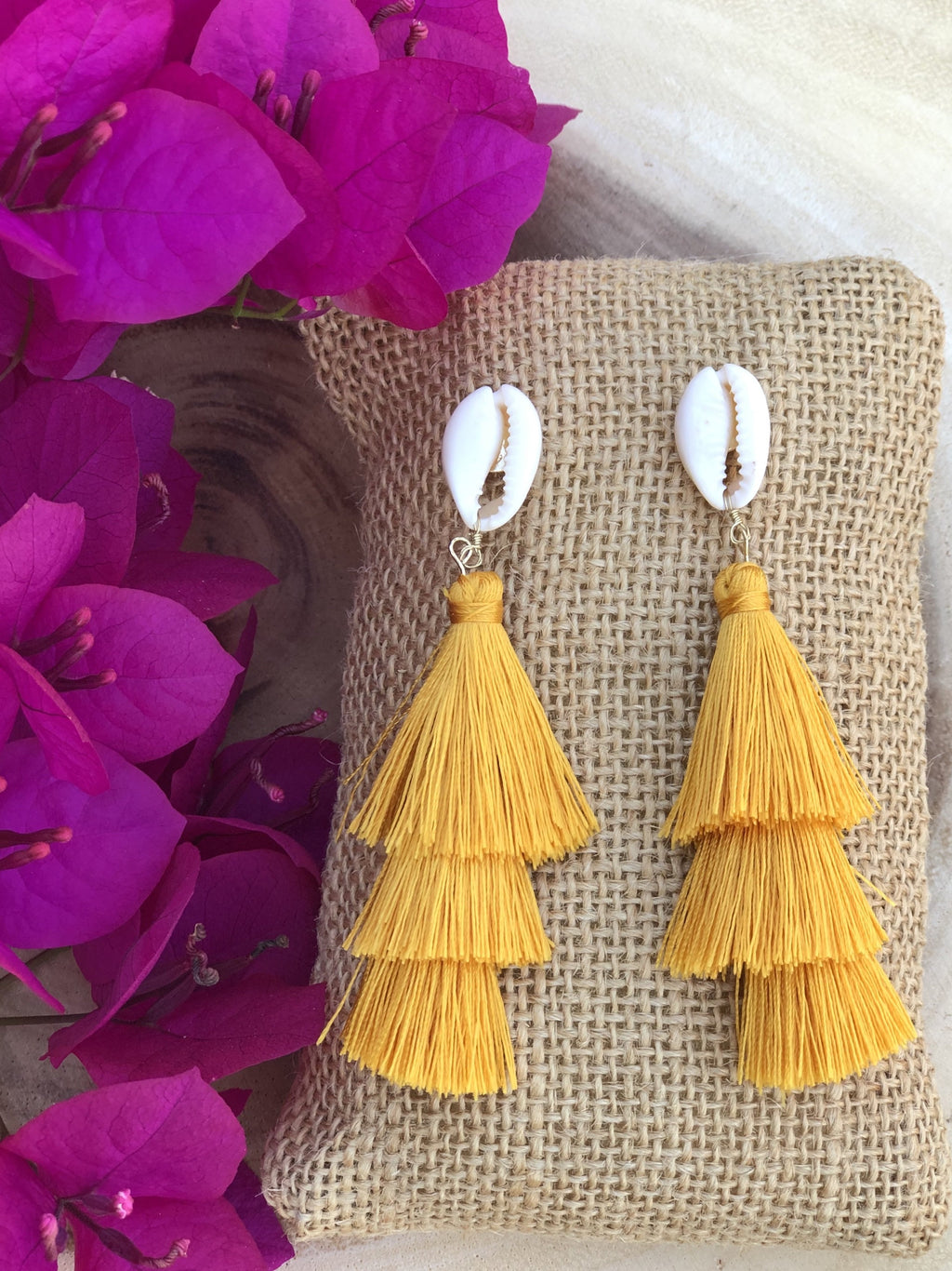Wendy Shell and Tier Fringe Earring - Yellow