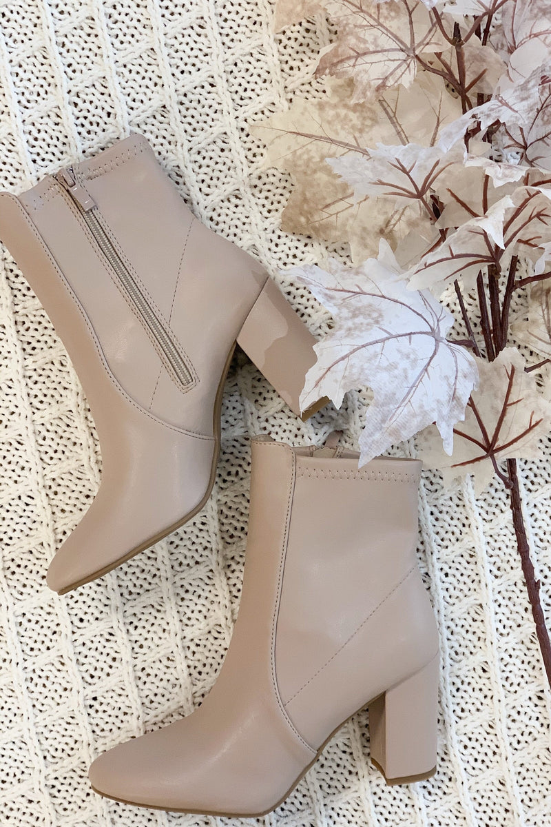 Elyza Faux Leather Bootie - Nude
