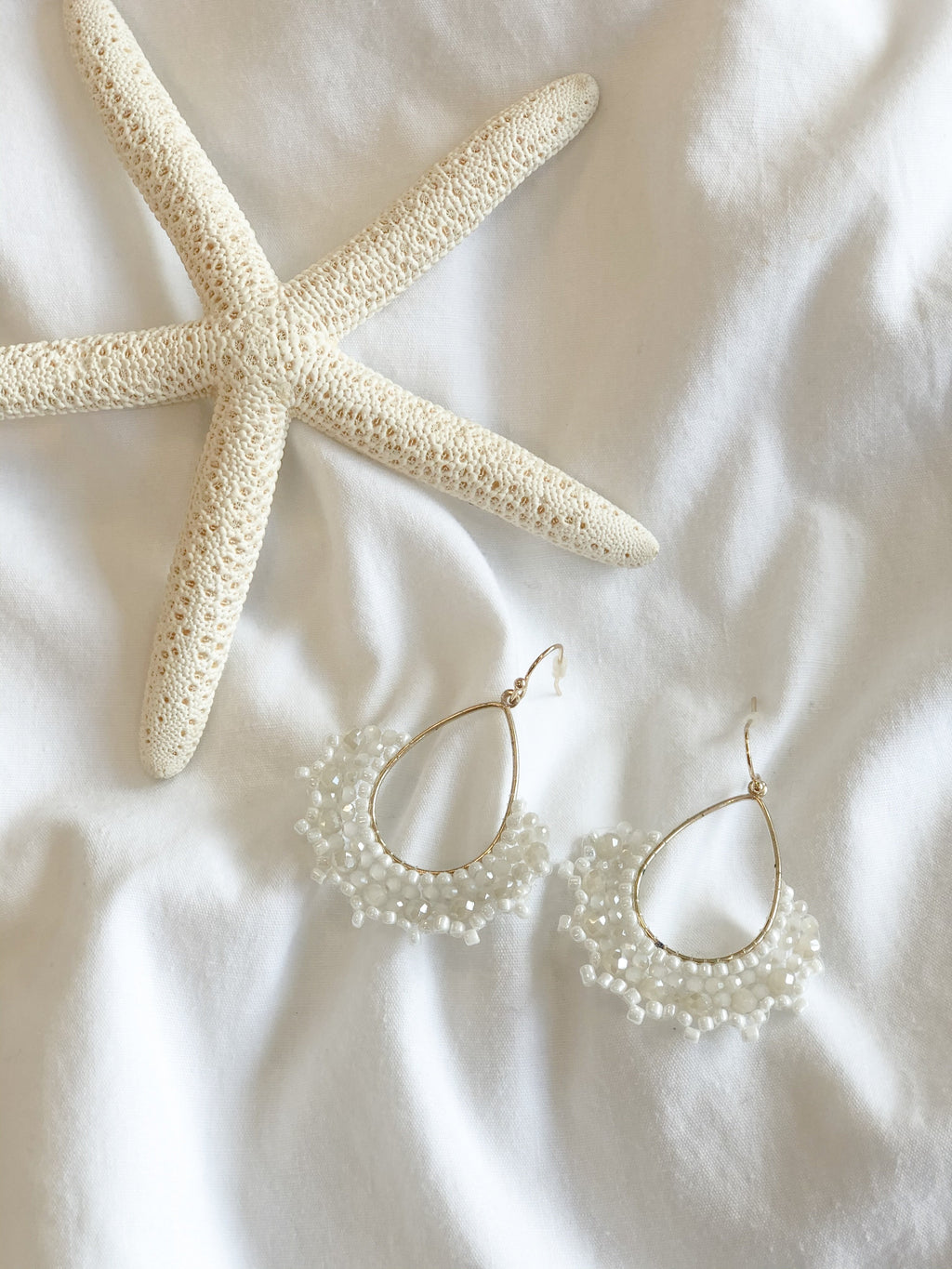 Emily Drop Earrings with Beads - White