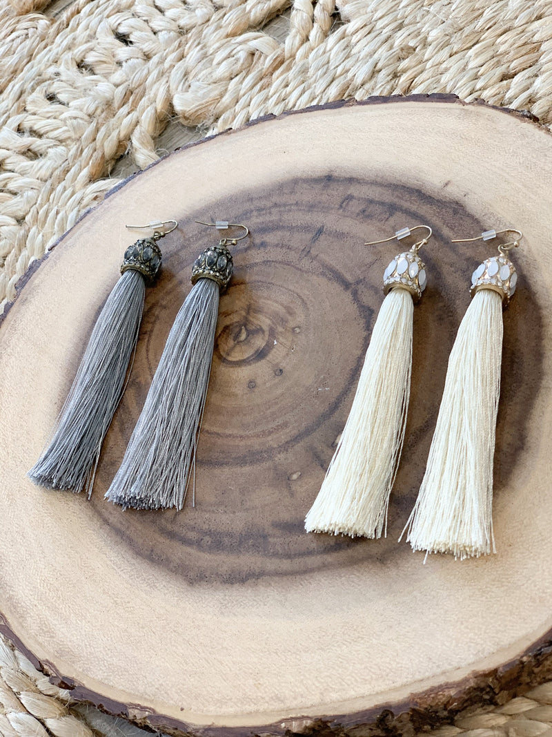 Emery Tassel Earrings - Grey