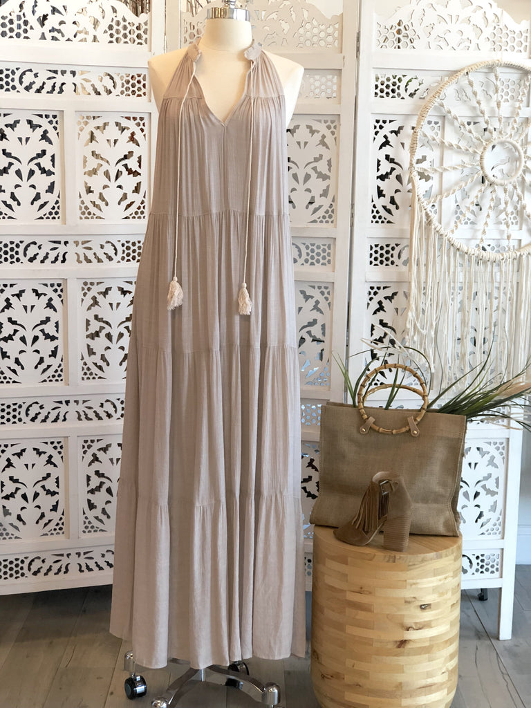 Agatha Sleeveless Boho Maxi Dress - Shell