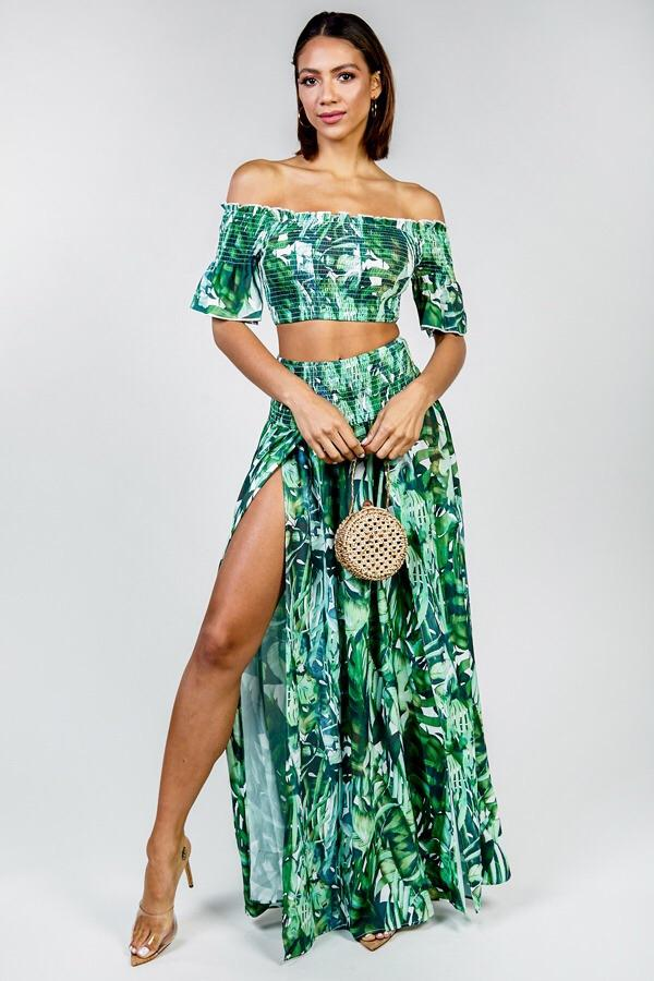 Melody Tropical Matching Crop Top & Maxi Skirt Set