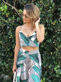 Monica Leaf Crop Top & Wrap Pants Set