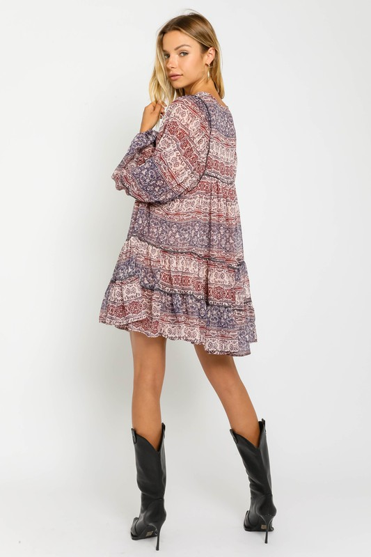 Adelina Printed Tiered Dress