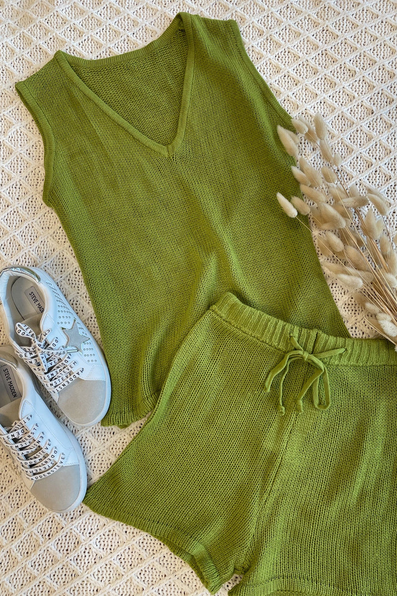 Quincey Knit Tank Top and Short Set - Musk Green