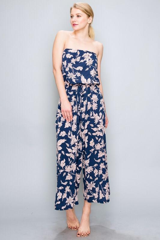 Beatrice Strapless Floral Cropped Jumpsuit