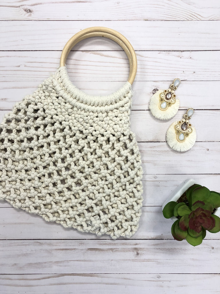 Calipso Wood Handle Macrame Handbag