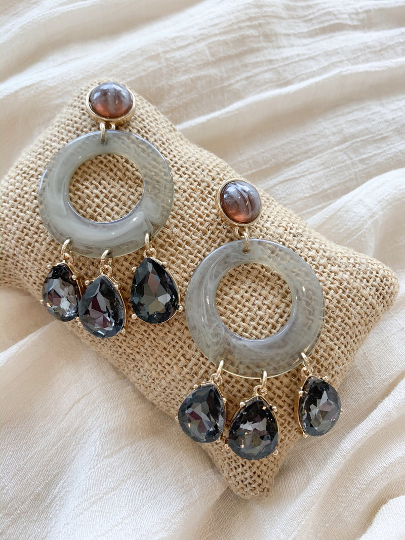 Jena Stone Acrylic Hoop Earrings