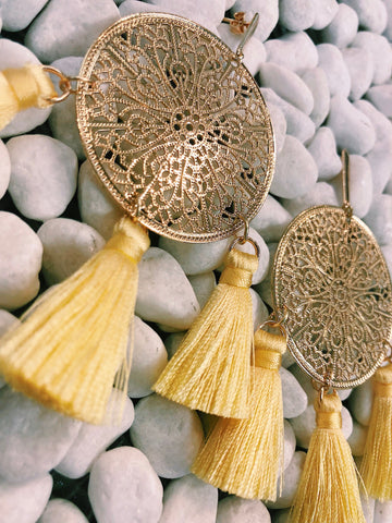 Iris Filigree Tassel Earrings -  White/Gold