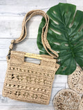 Bali Straw + Bamboo Handle Bag - Tan