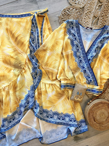 Alani Kimono Top & Wrap Skirt Set - Yellow
