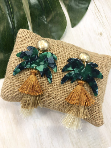 Dominica Palm Tree Tassel Earrings
