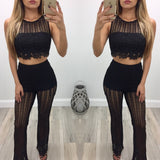 Alicia Crotchet Crop Top & Pants Set