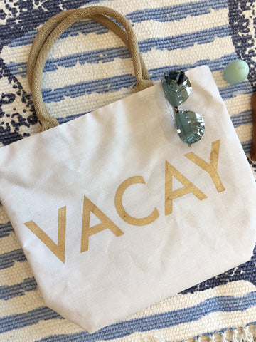 Vacay Canvas Beach Tote