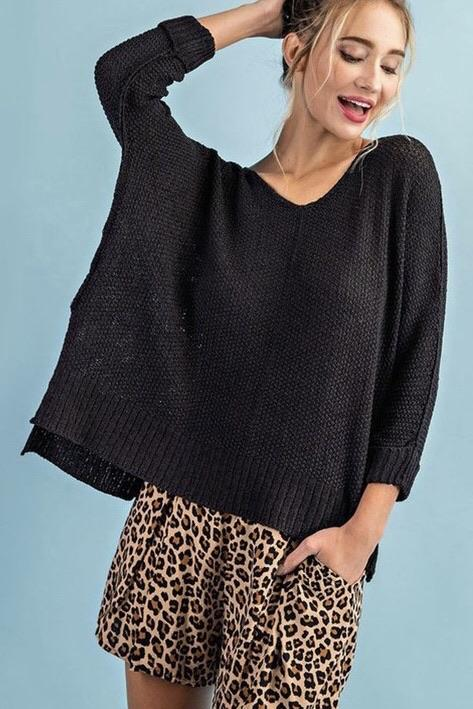 Tali Crew Neck Knit Sweater - Black