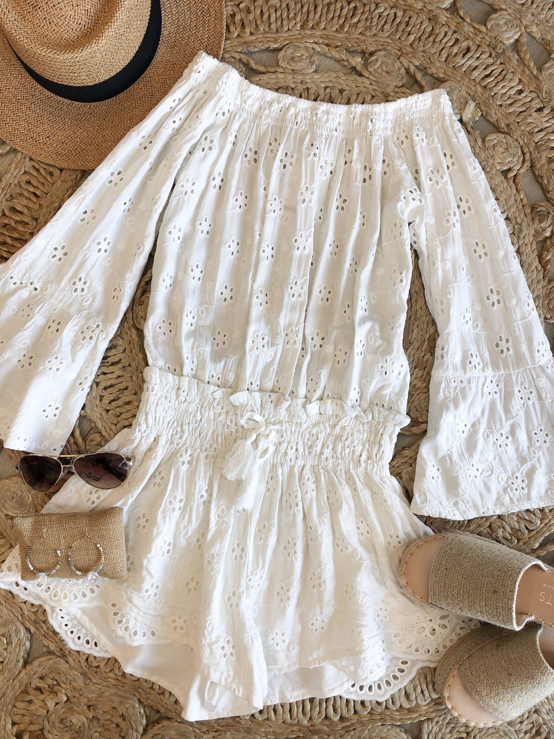 Elvi Eyelet Off The Shoulder Romper