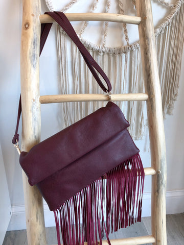 Ciara Fold Over Clutch With Fringe