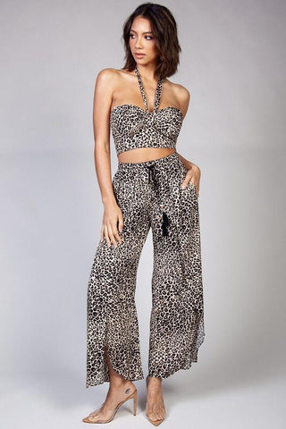 Katerina Leopard Matching Crop Top & Wrap Pants