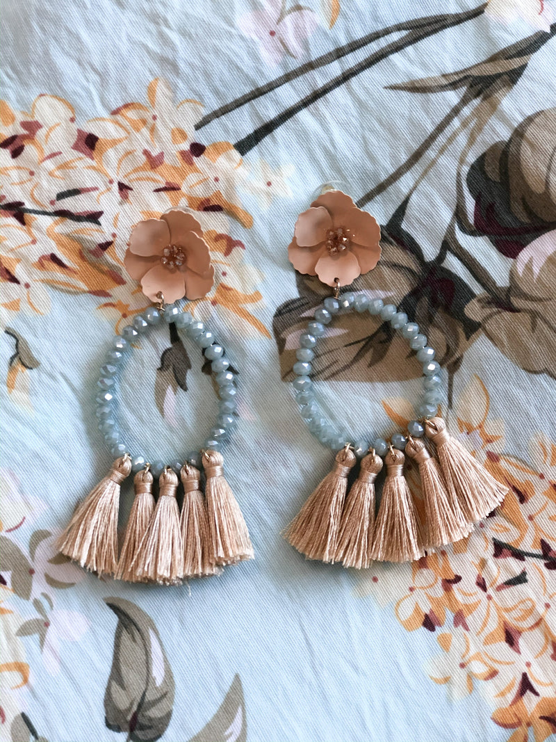 Luz Flower Beaded Tassel Earring