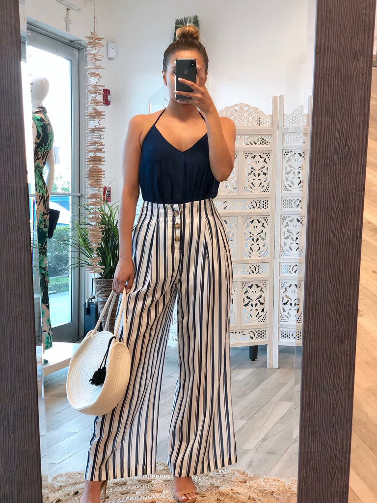 Amanda Striped Wide-Leg Pants - Navy/White