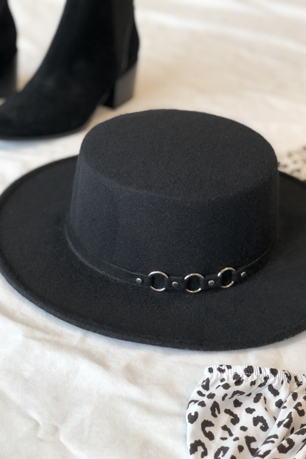 Hannah Boater Silhouette Hat - Black