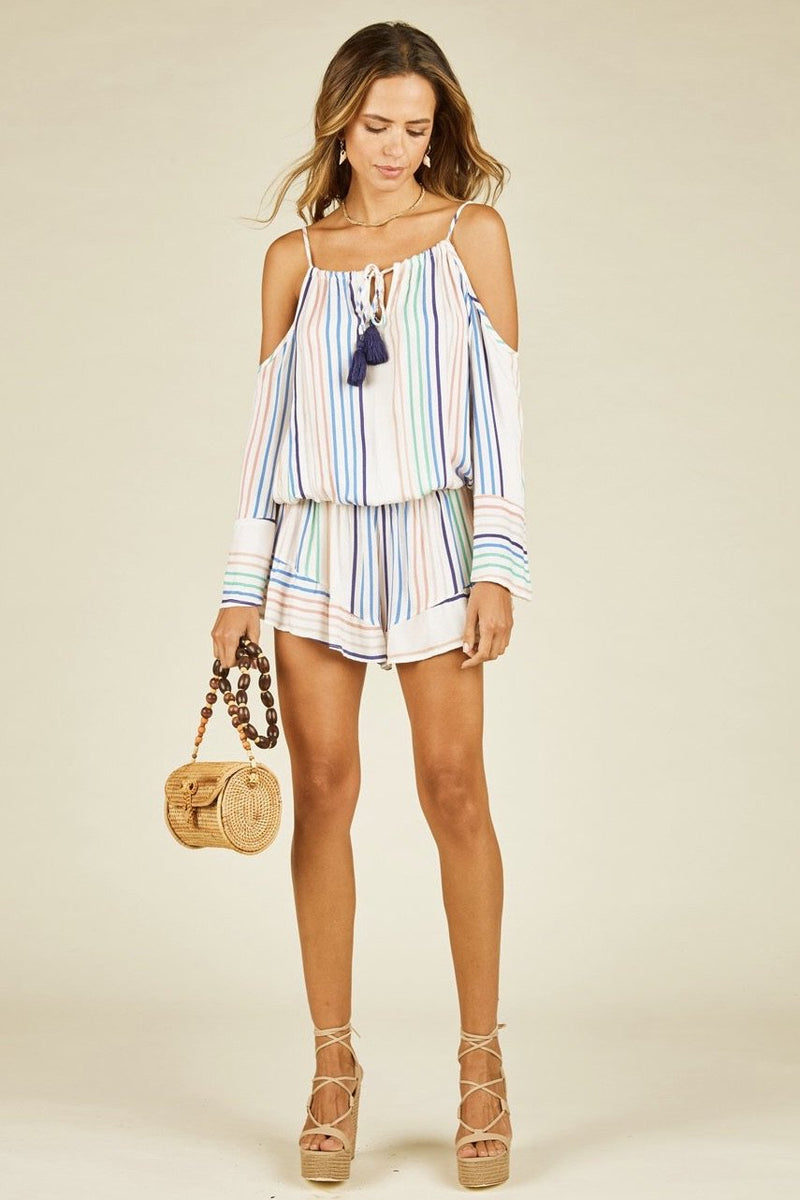 Eloise Candy Stripe Cold-Shoulder Romper