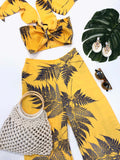 Gina Leaf Print Crop Top & Matching Palazzo Pants