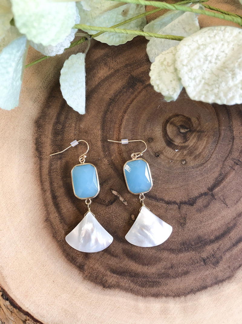 Alisse Shell Stone Earrings - Aqua