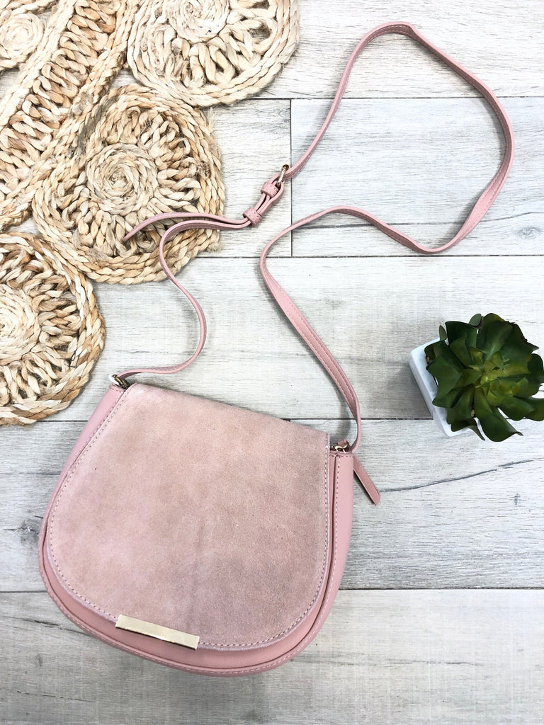 Mabel Suede Crossbody Purse - Blush