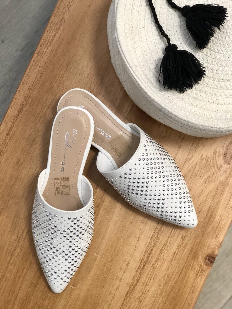 Dawn Studded Mule - White