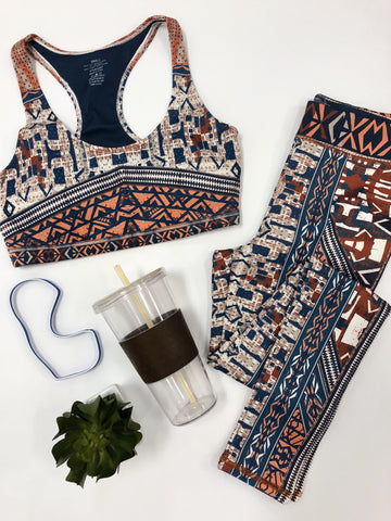 Jeanette Printed Sport Bra And Matching Legging Set