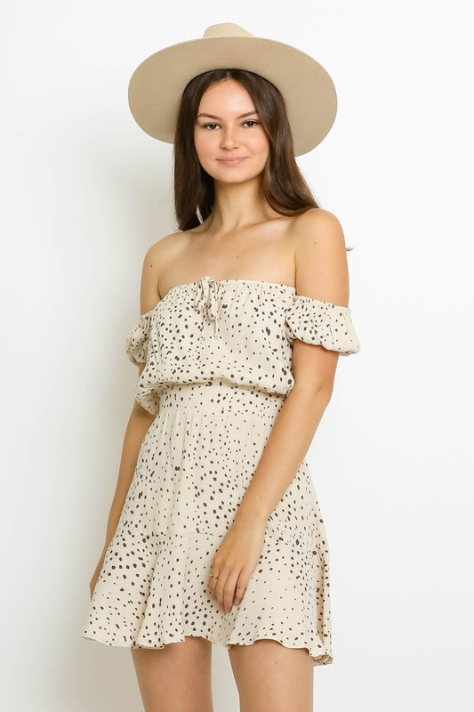 Bernice Polka Dot Off The Shoulder Mini Dress